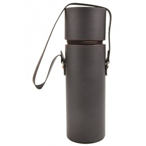 Brown 1 Bottle Faux Leather Carrier